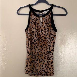 Calvin Klein Leopard Print Sleeveless Blouse